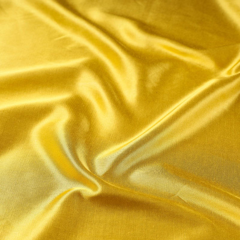Yellow - Pure Mashru Silk Plain Fabric (Width - 45 in)