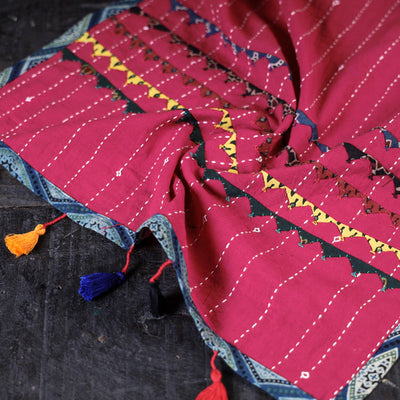 Kutch Tagai Work Ajrakh Border Cotton Stole with Tassels