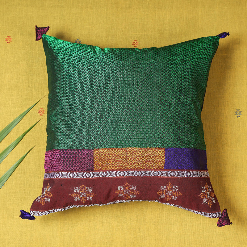 Gavanti Kasuti Hand Embroidered Khun Fabric Cushion Cover
