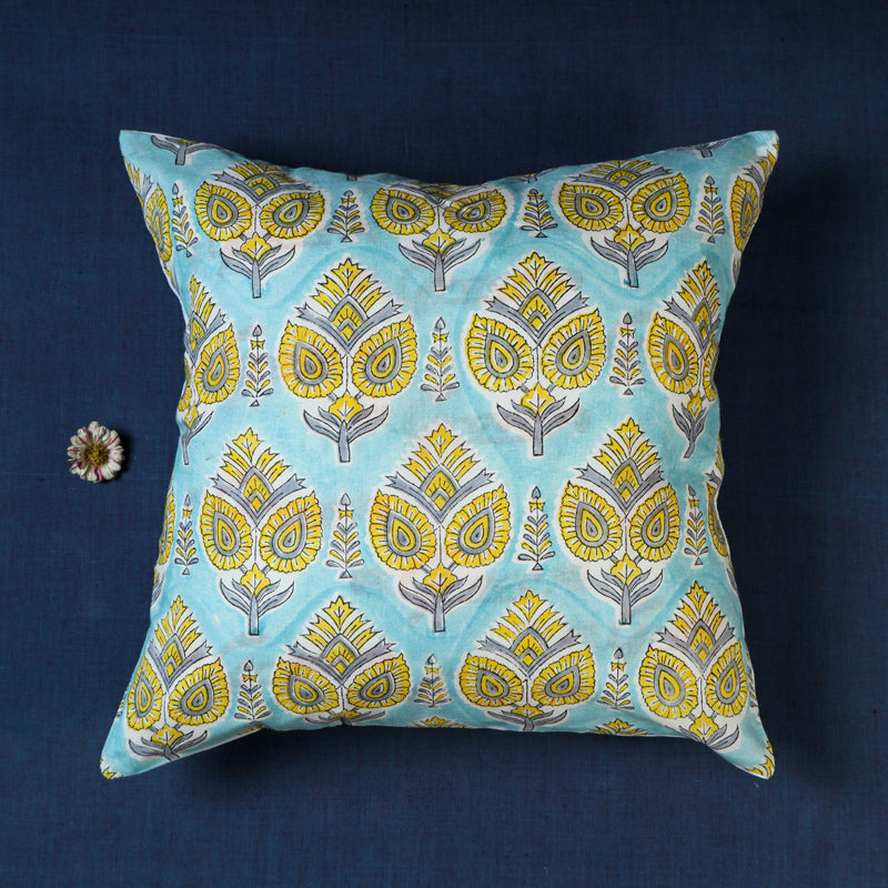 Sanganeri Hand Block Printed Cotton Cushion Cover by Haveli Chronicles (16 x 16 in)