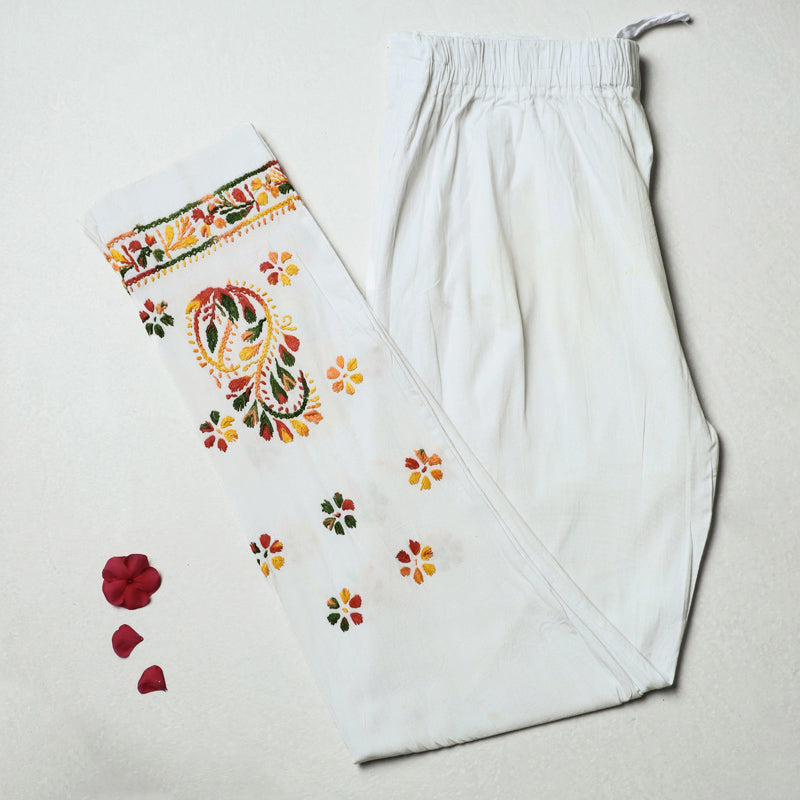 Lucknow Chikankari Hand Embroidered Cotton Lycra Cropped Pant (Free Size)