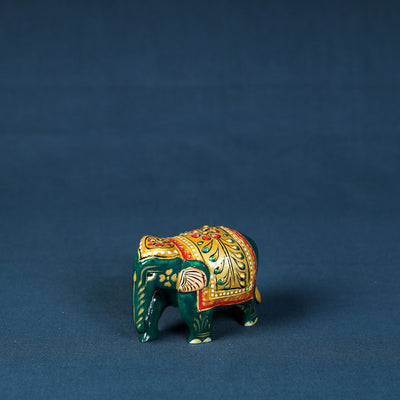 Elephant - Handcarved Kadam Wood Handpainted Sculpture