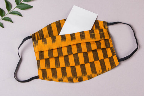 3 Layer Pochampally Ikat Cotton Fabric Pleated Face Mask with Filter Pocket