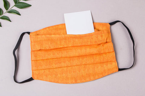 3 Layer Jacquard Cotton Fabric Pleated Face Mask with Filter Pocket