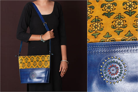 Handcrafted Kutch Leather Mashru Silk Shoulder Bag