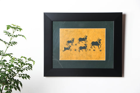 Sanjhi Paper Cut Artwork with Frame by Vijay Soni (28cm x 23cm)