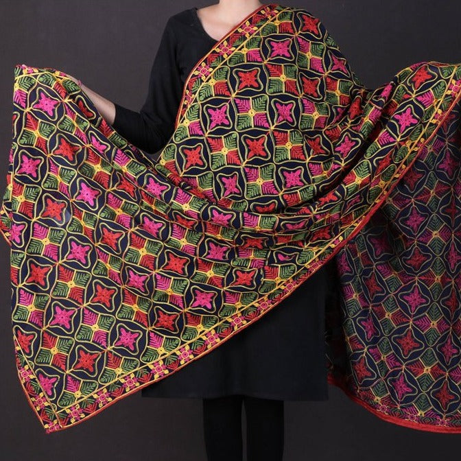 Traditional Phulkari Heavy Embroidered Jaal Chinon Dupatta