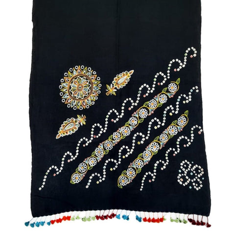 Traditional Rogan Art Painted Handloom Woolen Stole by Sumar Khatri