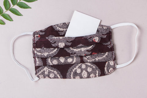 3 Layer Block Print Cotton Fabric Pleated Face Mask with Filter Pocket