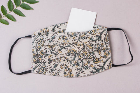 3 Layer Kalamkari Natural Dyed Cotton Fabric Pleated Face Mask with Filter Pocket