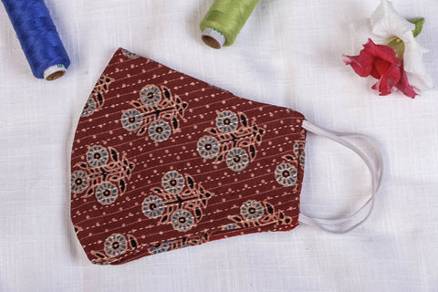 Ajrakh Kantha Work Cotton Fabric Block Print Natural Dyed 2 Layer Snug Fit Face Mask
