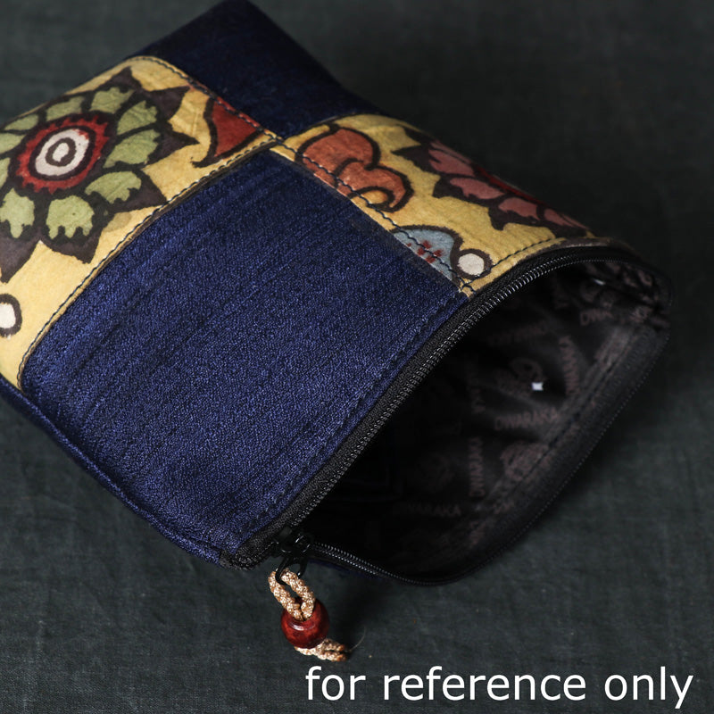 Handpainted Kalamkari Natural Dyed Ghicha Silk Multipurpose Small Cosmetic/Toiletry Pouch