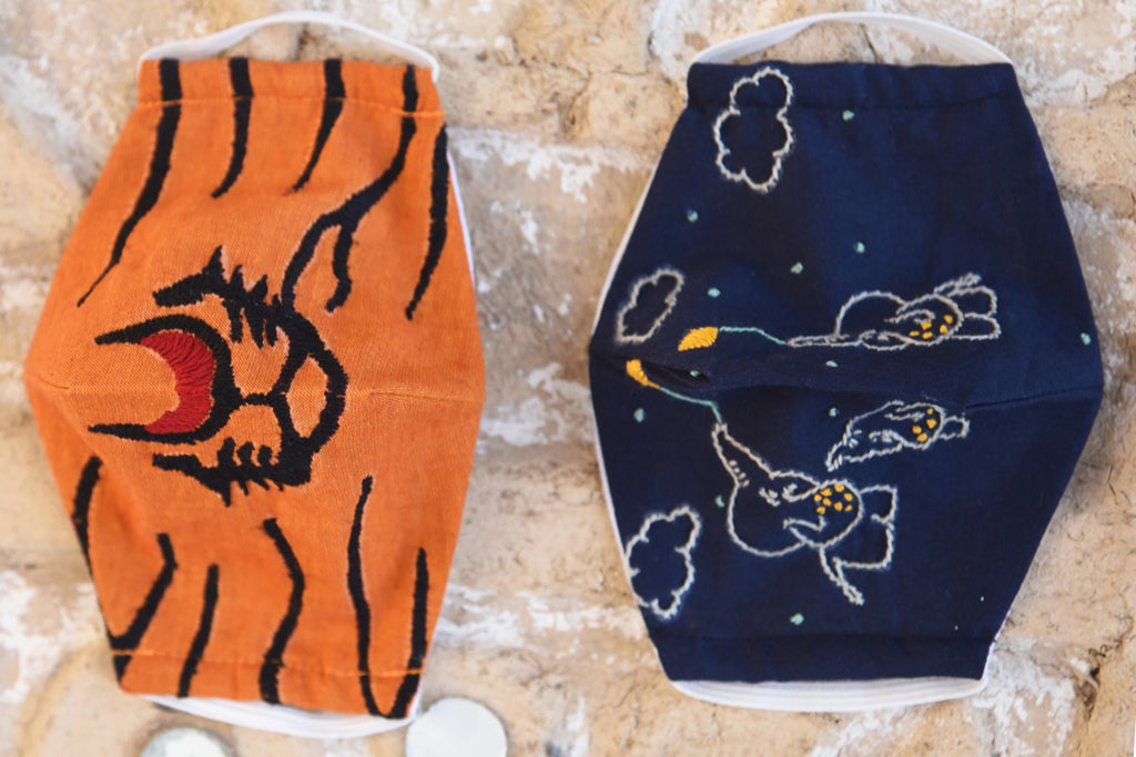 Jugnu Animal Embroidery Kids Cotton Face Cover (Set of 2)