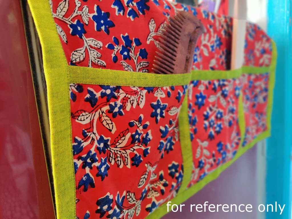 Bindaas Block Print Handmade Cotton Fridge Top Cover with Multiple Pockets