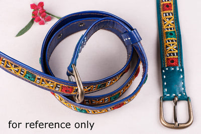 Mirror Work Kutch Hand Embroidery Pure Leather Belt (Upto 34 inches)