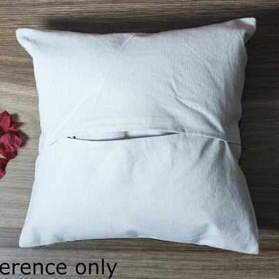 Original Chain Stitch Crewel Silk Thread Hand Embroidery Cushion Cover (12 x 12 in)