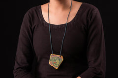 Kerala Mural Hand Painted Slate Stone Necklace by Sujith