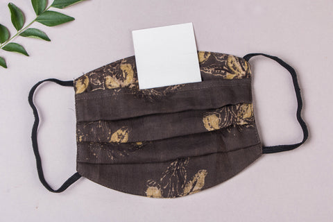 3 Layer Ajrakh Natural Dyed Cotton Fabric Pleated Face Mask with Filter Pocket