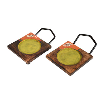 Hook-ed Snack Bowl with Square Tray Two Sets with One Holding Tray (6.5x4x4.5/13.5x4.5 inches)