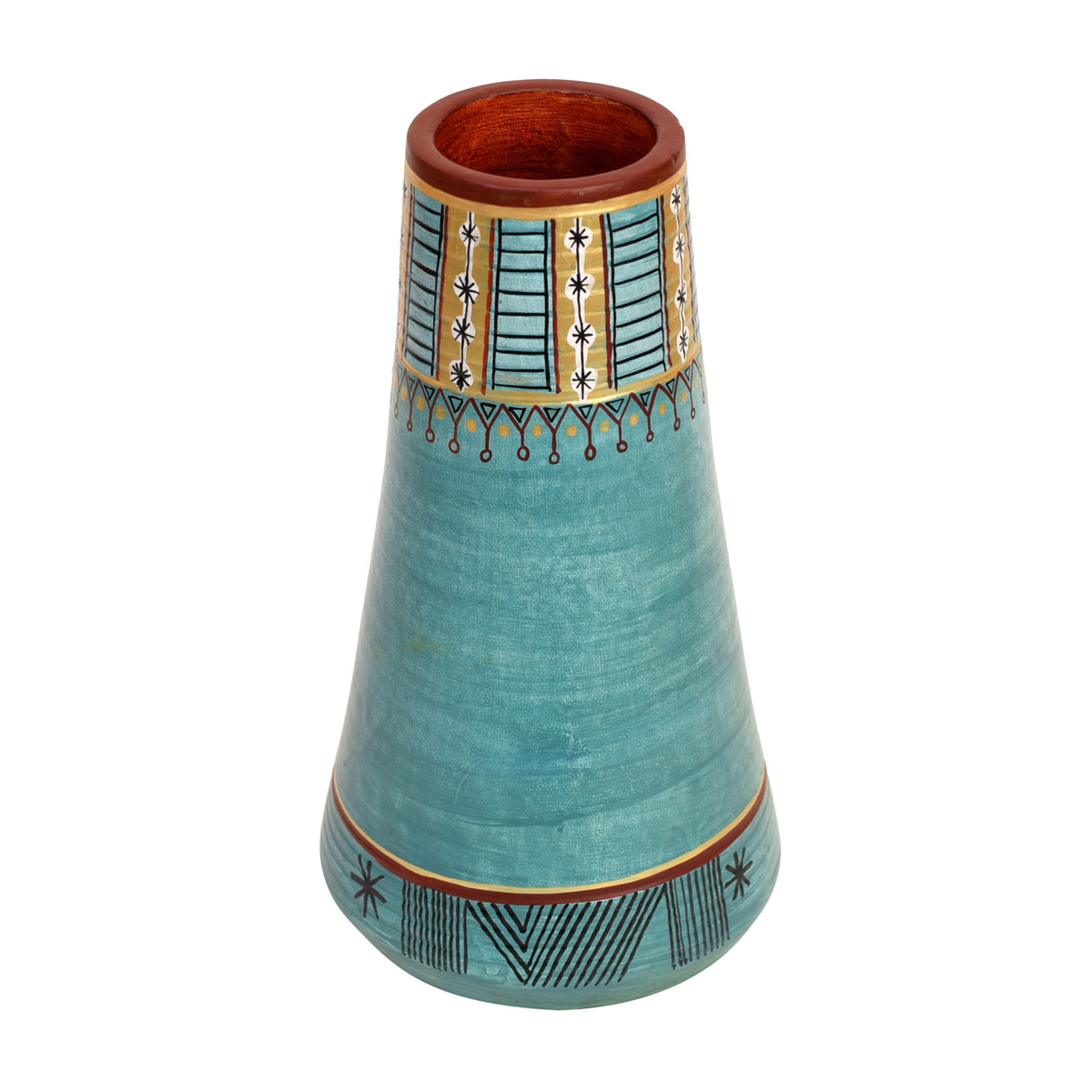 Turquoise Blue Conical Vase (9x5.2 inches Dia)