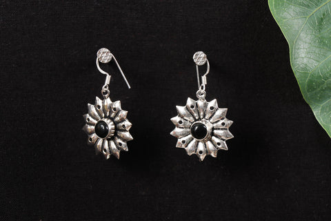 Antique Finish Oxidised German Silver Stone Earrings