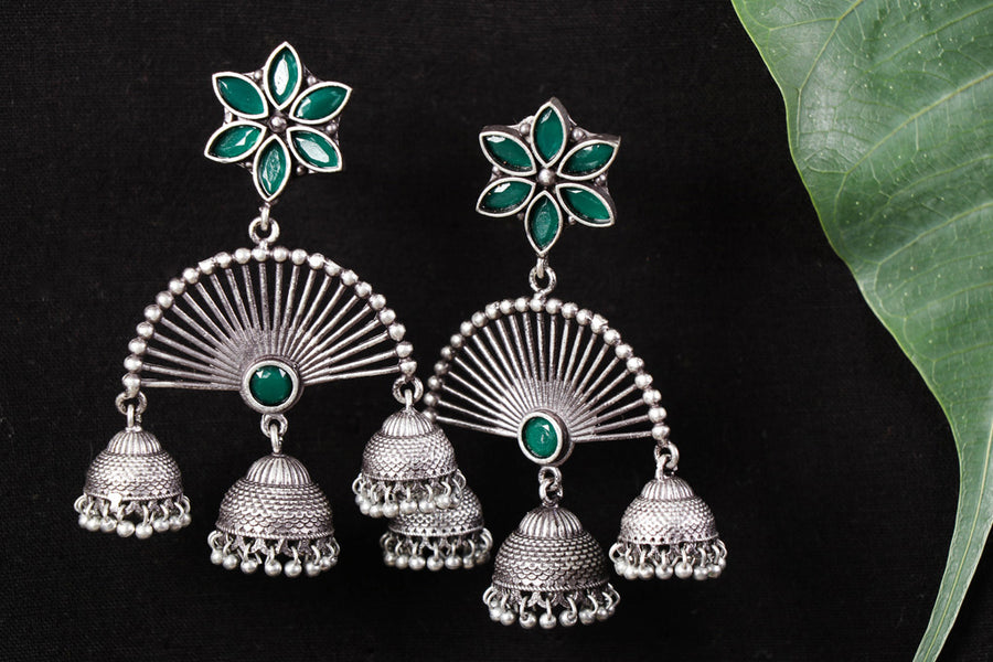 Antique Finish Oxidised German Silver Jhumki Earrings