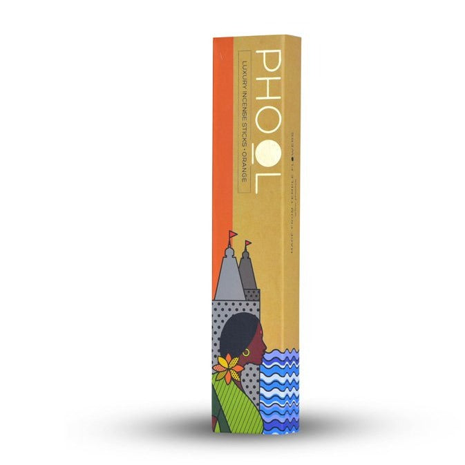 Orange - Handmade Temple Flower Natural Incense Sticks by PHOOL