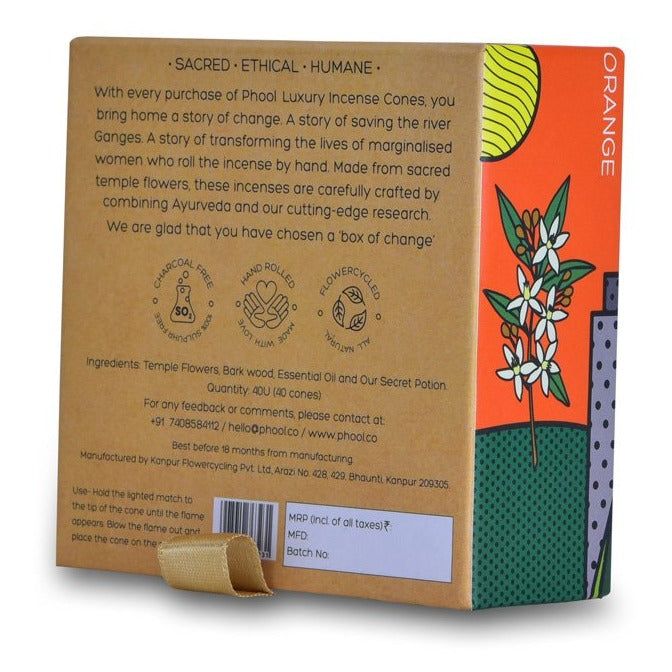 Orange - Handmade Temple Flower Natural Incense Cones by PHOOL