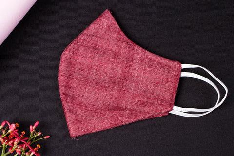 Burgundy - Handwoven Handspun Eri Silk Natural Dyed 2 Layer Snug Fit Face Mask