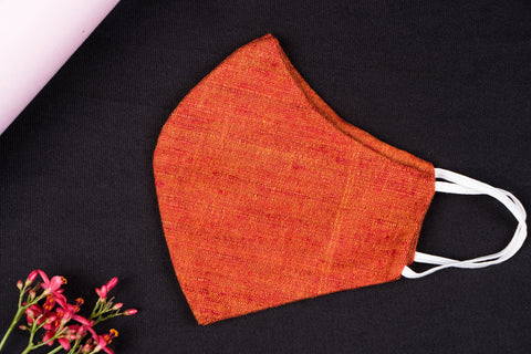 Orange - Handwoven Handspun Eri Silk Natural Dyed 2 Layer Snug Fit Face Mask