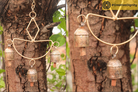 Kutch Copper Coated 3 Bell Hanging by Janmamad Luhar