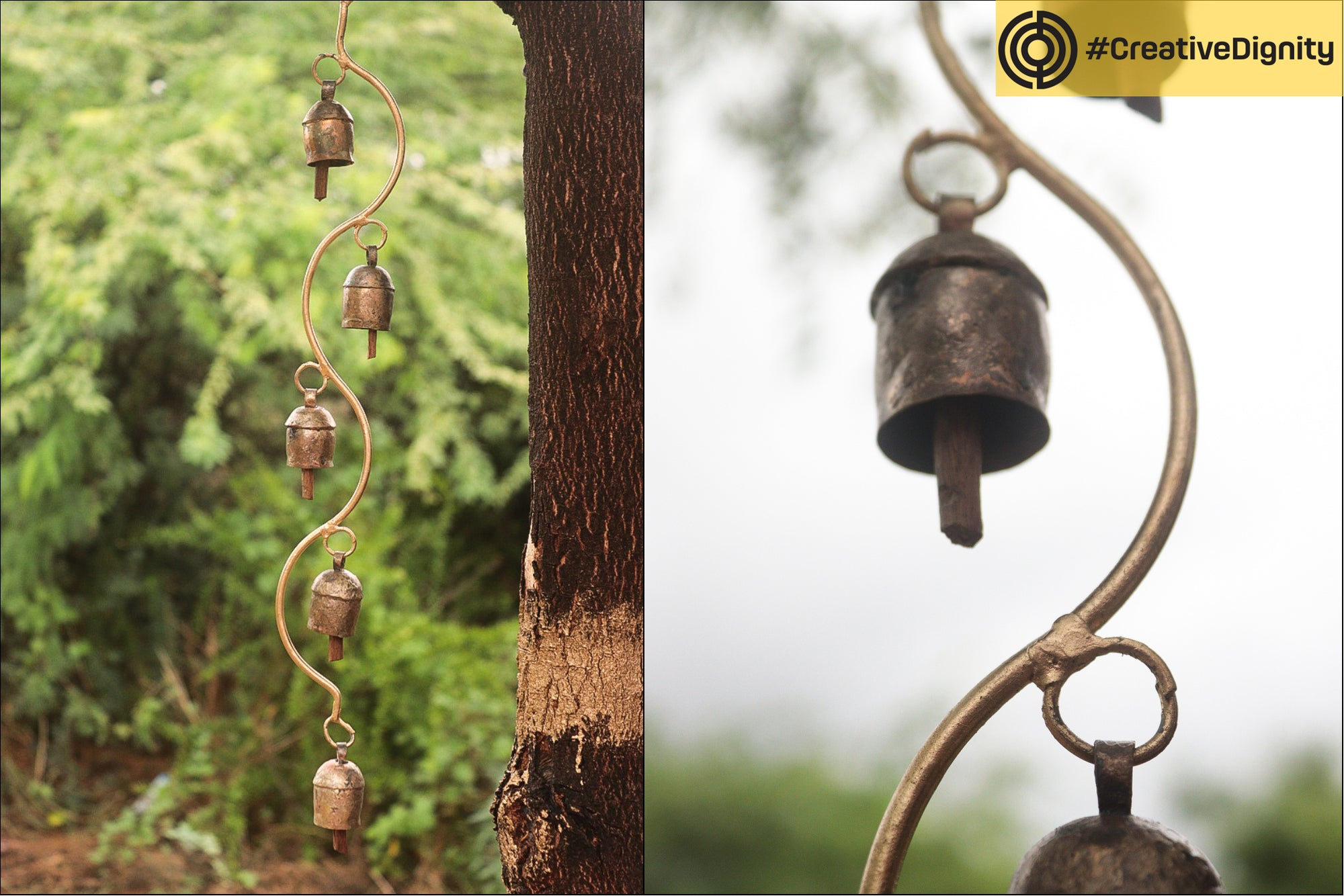 Kutch Copper Coated 5 Bell Hanging by Janmamad Luhar