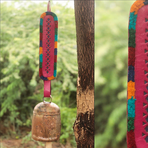 Kutch Copper Coated Bell with Leather Belt by Janmamad Luhar
