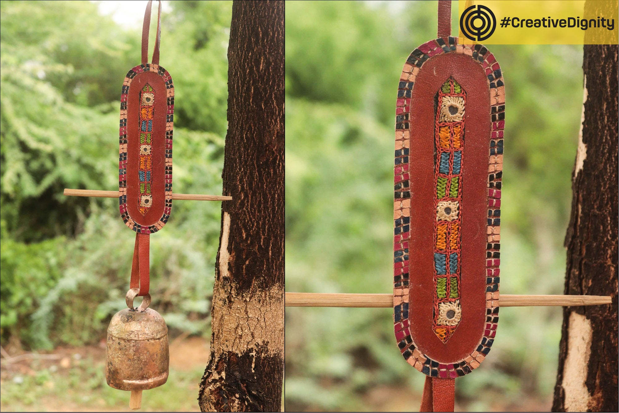 Kutch Copper Coated Bell with Leather Belt by Janmamad Luhar (Assorted)
