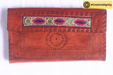 Handcrafted Kutch Leather Wallet with Intricate Embossing by Anchal Bijlani