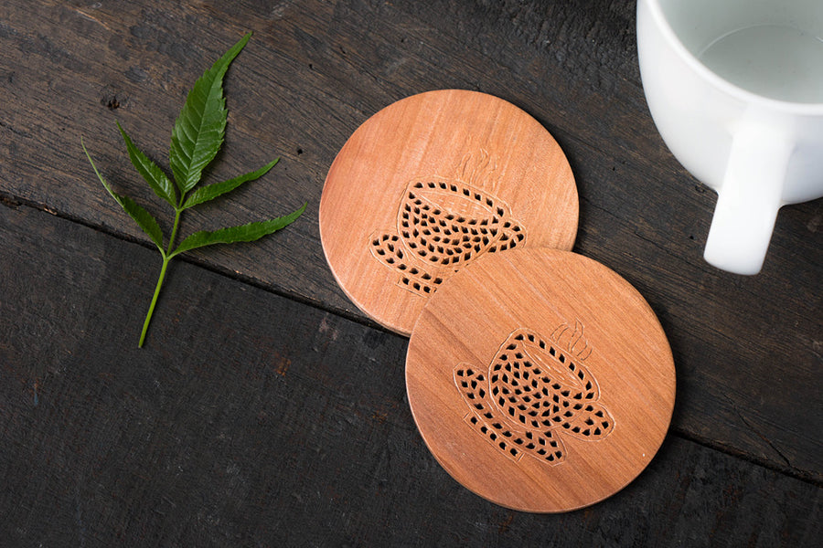 Hand Carved Loquat Wood Coasters (Set of 2)