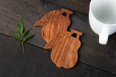 Hand Carved Sheesham Wood Coasters (Set of 2)