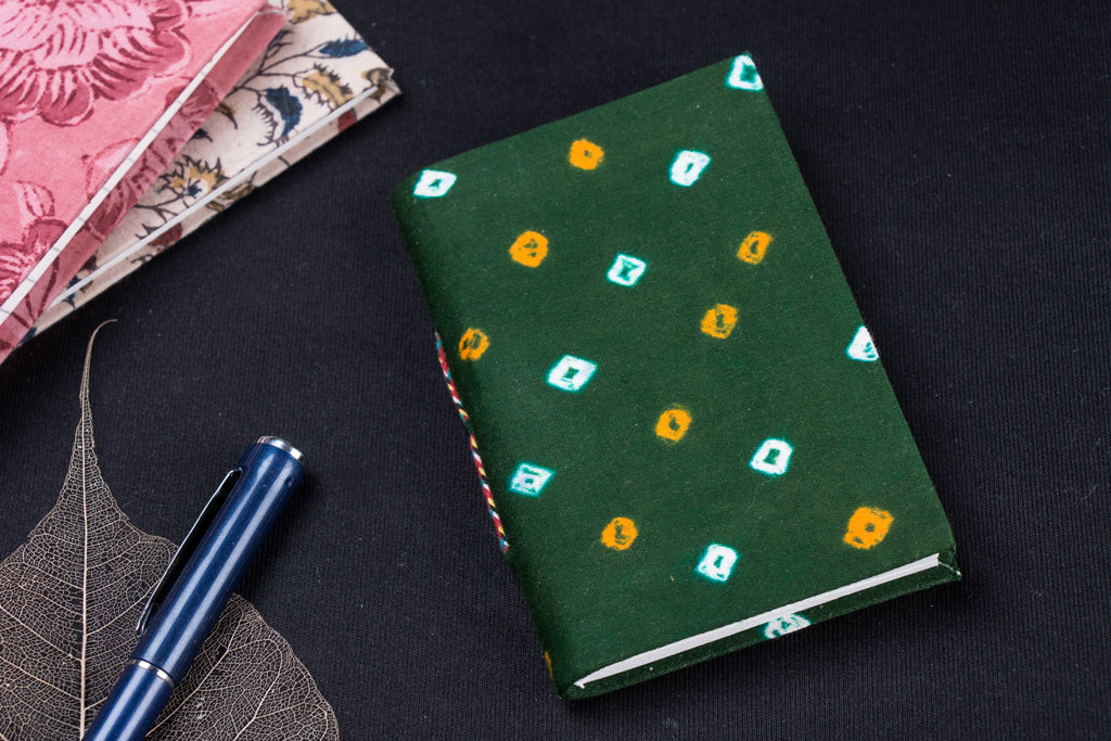 Bandhani Fabric Cover Handmade Paper Notebook (13 x 9 cm)