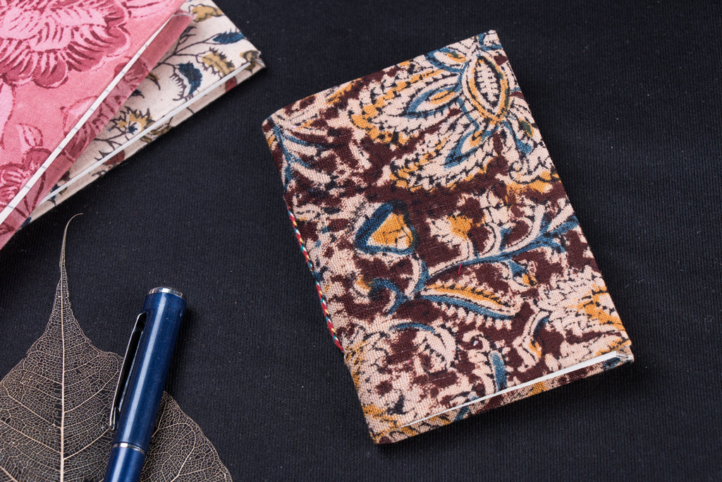 Kalamkari Fabric Cover Handmade Paper Notebook (13 x 9 cm)