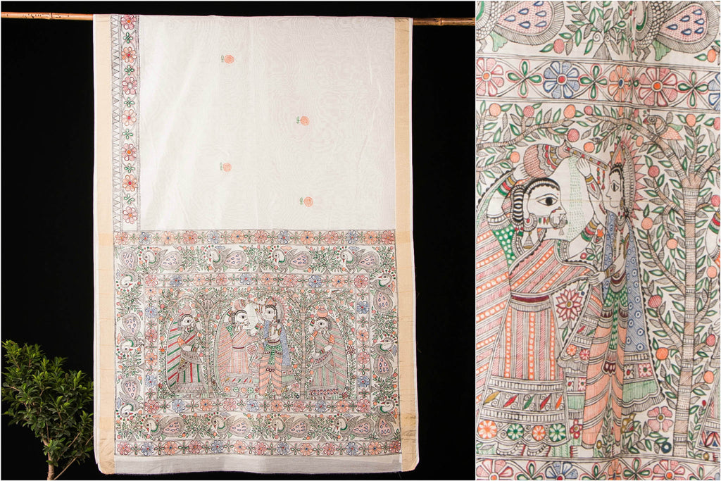 Handpainted Madhubani Zari Border Chanderi Silk Saree with Blouse