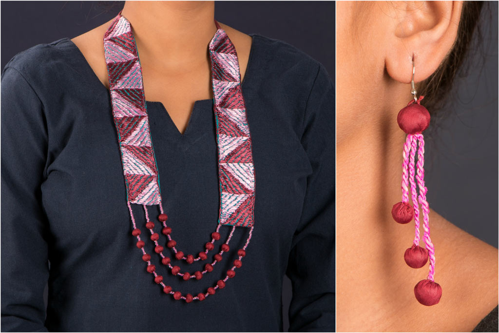Handcrafted Phulkari Mala Necklace Set