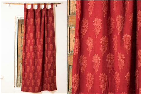 Double Layered Curtain with Kutch Block Prints