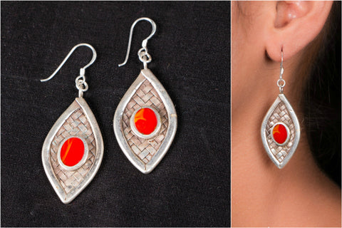 Sifar Sterling Silver Earring With Natural Stone