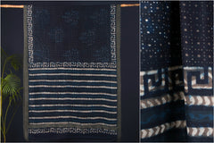 Indigo Bagru Block Prints Chanderi Silk Ghicha Border Saree
