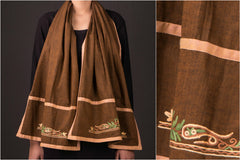Kashida Embroidery Cotton Stole by Zahoor from Kashmir