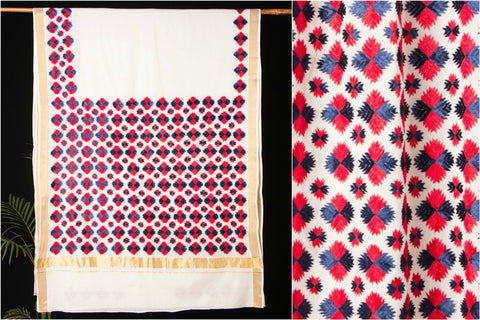 Traditional Kerala Cotton Phulkari Embroidered Saree