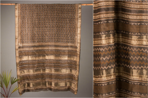 Maheshwari Handloom Silk Zari Saree with Akola Block Print