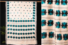 Traditional Tussar Silk Cotton Phulkari Embroidered Saree
