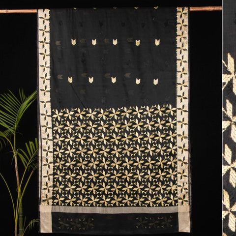 Traditional Kota Cotton Phulkari Embroidered Buta Saree