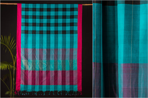 Kuppadam Handloom Checks Cotton Saree